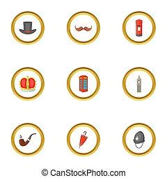 estilo, inglaterra, ícones, jogo, atração, caricatura