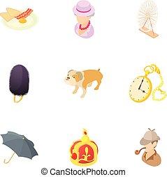 estilo, inglaterra, ícones, jogo, feriado, caricatura