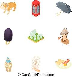 estilo, inglaterra, ícones, jogo, país, caricatura