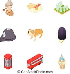 estilo, inglaterra, ícones, jogo, turismo, caricatura