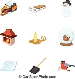 estilo, invierno, iconos, conjunto, estación, caricatura