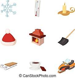 estilo, invierno, iconos, conjunto, helada, caricatura