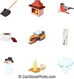 estilo, invierno, iconos, conjunto, tiempo, caricatura