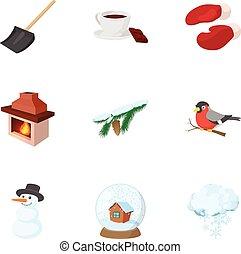 estilo, invierno, iconos, conjunto, vacaciones, caricatura