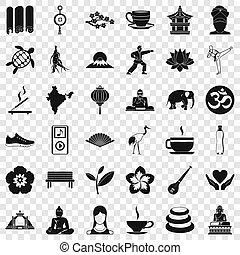 estilo, ioga, ícones, jogo, simples, relaxamento