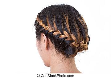 estilo, isolado, cabelo longo, fundo, branca, trança