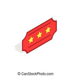 estilo, isométrico, icono, boleto, rojo, 3d