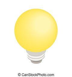 estilo, isometric, bulbo, luz, 3d, ícone