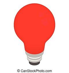 estilo, isometric, bulbo, luz, vermelho, 3d, ícone