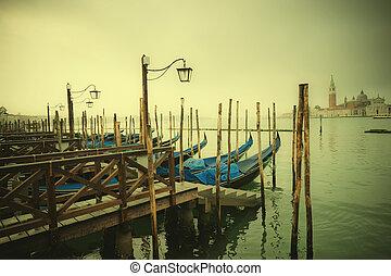 estilo, italia, canal, venecia, imagen, góndolas, retro, ...