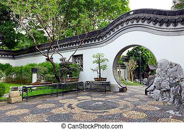 estilo, jardim, chinês