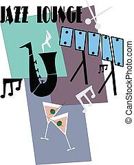 estilo, jazz, retro, tiempo
