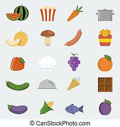 estilo, jogo, ícones, alimento, 'flat', vetorial