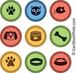 estilo, jogo, ícones, cão, gato, retro