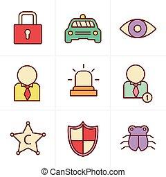 estilo, jogo, ícones, fundo, branca, segurança, ícone