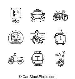 estilo, jogo, ícones, ketch, vetorial, transporte público
