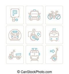 estilo, jogo, ícones, mono, vetorial, magra, conceitos, linha, transporte público