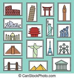 estilo, jogo, ícones, monumentos, ilustração, símbolos, selos, vetorial, linha