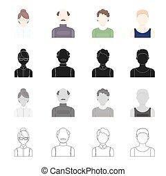 estilo, jogo, aparência, esboço, ícones, web., símbolo, calvo, boy., cobrança, rosto, vetorial, pretas, ilustração, loura, óculos, monocromático, menina, homem, caricatura, estoque