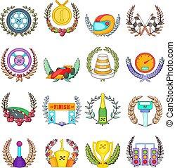 estilo, jogo, caricatura, raça, ícones, ganhe