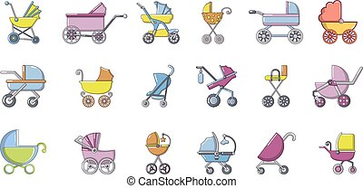 estilo, jogo, carruagem, bebê, caricatura, ícone