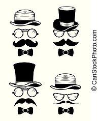 estilo, jogo, chapéu, bigode, óculos