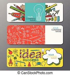 estilo, jogo, doodle, idéias, símbolos, vetorial, bandeira