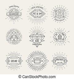 estilo, jogo, emblema, etiqueta, hipster, winehouse, ou, winemaking