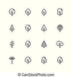 estilo, jogo, esboço, árvores, vetorial, ícone