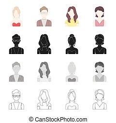 estilo, jogo, esboço, ícones, óculos, símbolo, aparência, web., jovem, cobrança, rosto, girl., vetorial, pretas, ilustração, monocromático, menina, homem, caricatura, penteado, estoque
