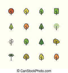 estilo, jogo, esboço, coloridos, árvores, vetorial, ícone