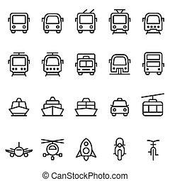 estilo, jogo, esboço, vetorial, transporte público, ícone