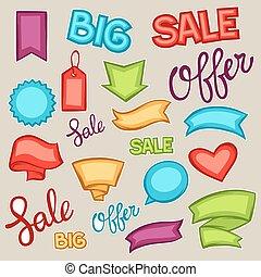 estilo, jogo, etiquetas, etiquetas, venda, bandeiras, caricatura