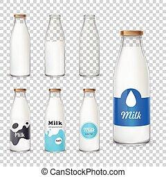 estilo, jogo, garrafas, vidro, ícones, realístico, leite