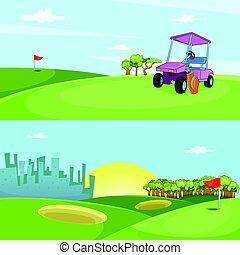 estilo, jogo, golfe, campo, horizontais, bandeira, caricatura