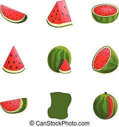 estilo, jogo, gostoso, melancia, caricatura, ícone
