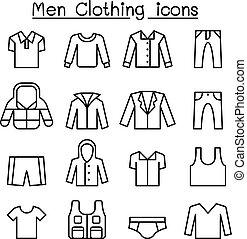 estilo, jogo, homens, linha magra, ícone, roupas