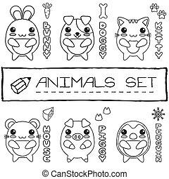 estilo, jogo, japoneses, mão, bebê, desenhado, animals.