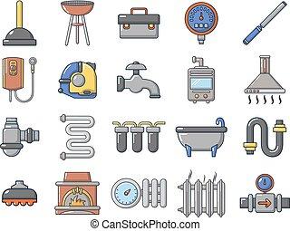 estilo, jogo, lar, ferramentas, caricatura, ícone