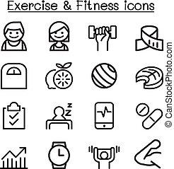 estilo, jogo, &, magra, condicão física, linha, exercício, ícone