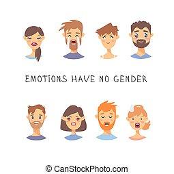 estilo, jogo, não, citação, homens, boy., ilustração, characters., vetorial, texto, emoções, ter, gênero, emocional, menina, caricatura, mulheres