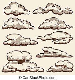 estilo, jogo, nuvens, vindima, mão, vetorial, desenhado
