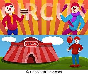 estilo, jogo, palhaço circo, bandeira, caricatura