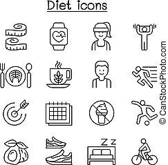 estilo, jogo, peso, magra, dieta, perdendo, linha, exercício, ícone
