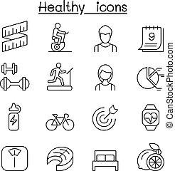 estilo, jogo, &, saudável, linha magra, exercício, ícone