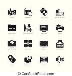 estilo, jogo, sistema, vetorial, operando, ícone,...