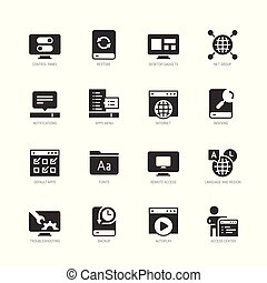 estilo, jogo, sistema, vetorial, operando, ícone, glyph