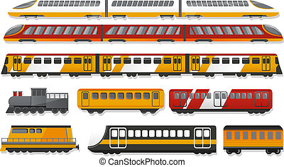 estilo, jogo, trem, metrô, caricatura, ícone