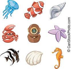 estilo, jogo, vetorial, marinho, caricatura, ícone