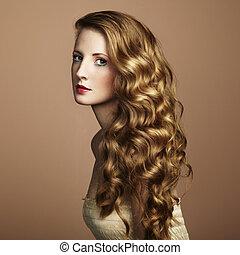 estilo, joven, woman., vendimia, hermoso, foto